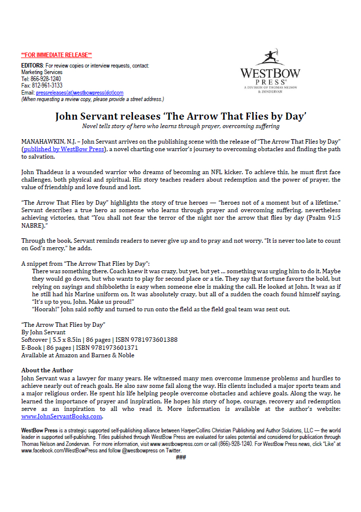 """JOHN SERVANT RELEASES """"THE ARROW THAT FLIES BY DAY'"""