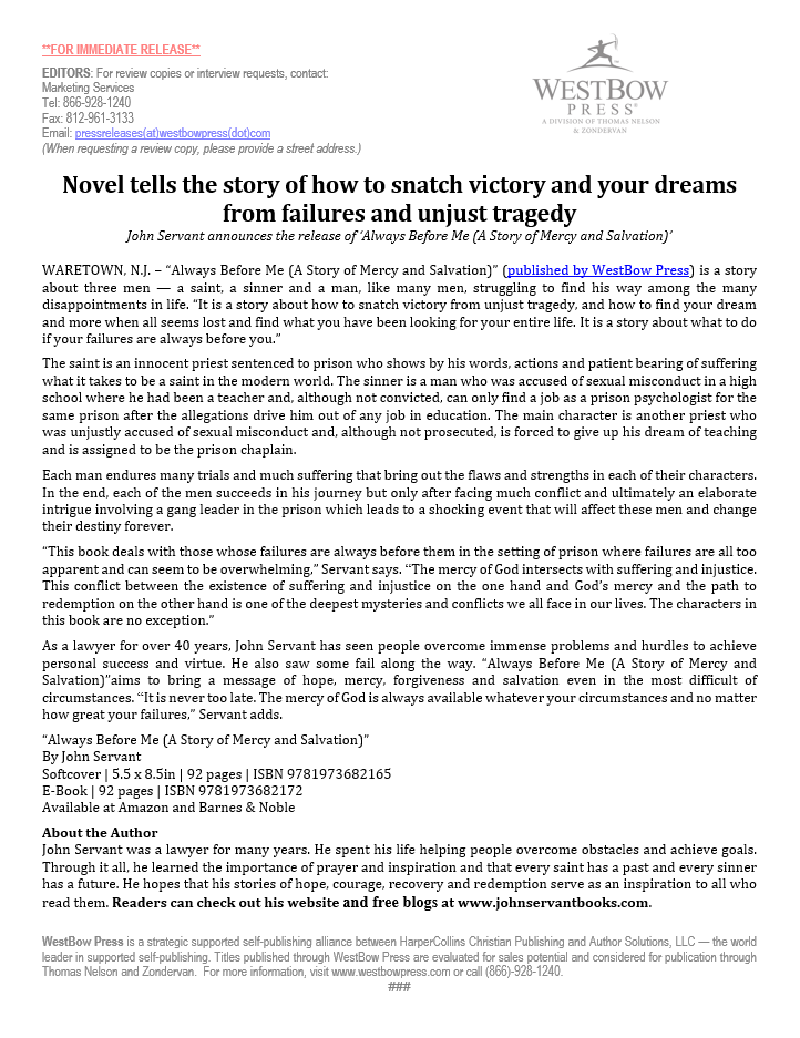 Novel tells the story of how to snatch victory and your dreams from failures and unjust tragedy | John Servant Book Collection